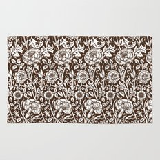 "William Morris Floral Pattern | ""Pink and Rose"" in Chocolate Brown and White Rug"