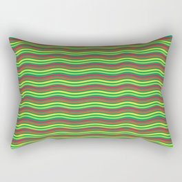 Digital Art Waves Multicolored Rectangular Pillow