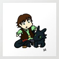 Chibi Hiccup and Toothless Art Print