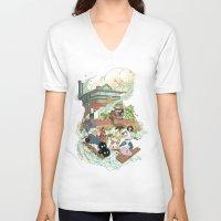 chihiro V-neck T-shirts featuring Chihiro by Alba Palacio