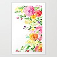 Watercolour Flowers Part 1 Art Print
