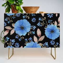 Blue flowers with black Credenza