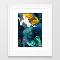 the little mermaid Framed Art Prints featuring little mermaid by genie espinosa