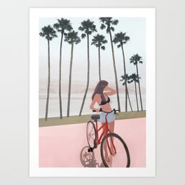 Seaside Biking Art Print