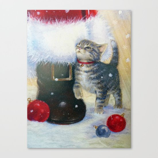 Kitten at Santa's Boot Canvas Print