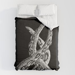 Woodcut Style Cthulu Octopus Tentacles on Black Background Comforters