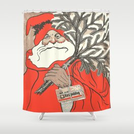 Christmas Pudding And Vintage Santa Vector Shower Curtain