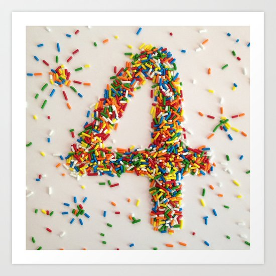 Sprinkles, Fireworks and the Number 4 Art Print