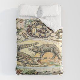 Reptiles by Adolphe Millot // XL 19th Century Snakes Lizards Alligators Science Textbook Artwork Comforters