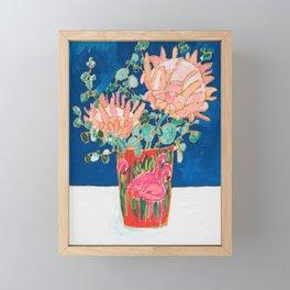 Protea in Enamel Flamingo Tumbler Painting Framed Mini Art Print