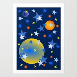 Celestial Stars and Planets Art Print