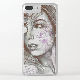 Mascara: Violet (freesia tattoo lady portrait) Clear iPhone Case