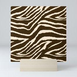 ZEBRA IN WINTER BROWN AND WHITE Mini Art Print