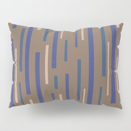 Interrupted Lines Mid-Century Modern Minimalist Pattern in Blue, Purple, Taupe, and Brown Pillow Sham
