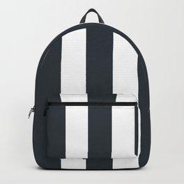 Gunmetal grey - solid color - white vertical lines pattern Backpack