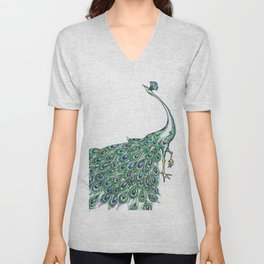 My Peacock Art in Teals and Blues Unisex V-Neck