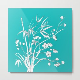 bamboo and plum flower white on blue Metal Print