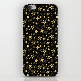 Luxe Gold on Black Starry Night Sky iPhone Skin