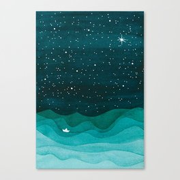 Starry Ocean, teal sailboat watercolor sea waves night Canvas Print