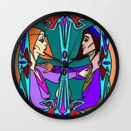 An Art Deco Medieval Romantic Scene Wall Clock