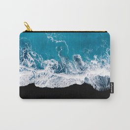 Black sand beach with waves and blue Ocean in Iceland – Minimal Photography Carry-All Pouch
