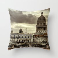 cuba Throw Pillows featuring CUBA - CAPITOLIO by mayavisual