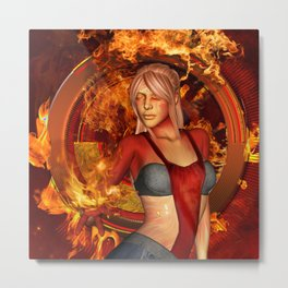 The awesome fire girl , fire on the background Metal Print