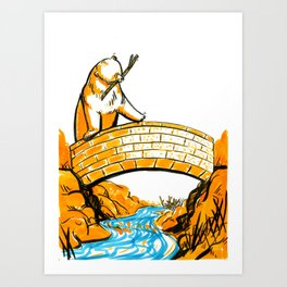 A Bridge and Stream Art Print