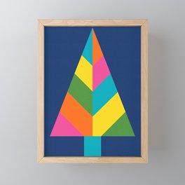 Retro Christmas Tree in Blue Framed Mini Art Print