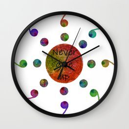 Never Give Up Sun Watercolor Semicolons Wall Clock