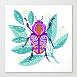 Purple Beetle and Florals Canvas Print