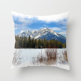 Scenic Cascade Mountain - Banff Alberta Throw Pillow