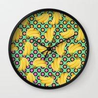 banana Wall Clocks featuring banana by mark ashkenazi