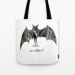 Halloween Welcome to the Ball Vampire Bat Greeting Card Tote Bag