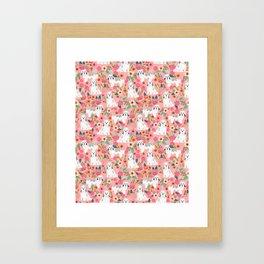 Havanese Floral - dog, dogs, cute dog, white dog, flowers, florals, pink floral Framed Art Print