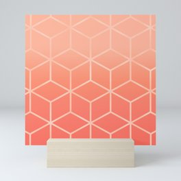 Living Coral Gradient - Geometric Cube Design Mini Art Print