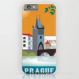 Prague, Czech Republic - Skyline Illustration by Loose Petals iPhone Case