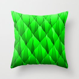 Mirrored triangular shards of curved green intersecting ribbons and vertical lines. Throw Pillow