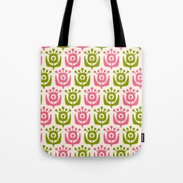 Retro Flower Pattern Pink Chartreuse Tote Bag