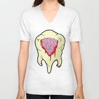 tooth V-neck T-shirts featuring Tooth by Iamzombieteeth Clothing