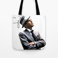 frank sinatra Tote Bags featuring Frank Sinatra by BAS~