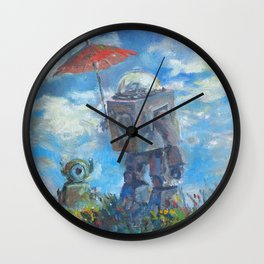 Robot with Parasol Wall Clock
