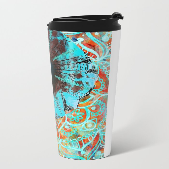 Indian Sketch Elephant Blue Orange Metal Travel Mug