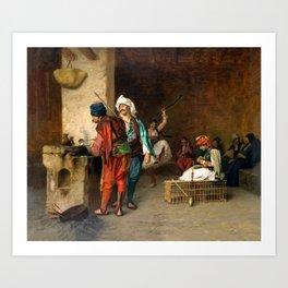 """Jean-Léon Gérôme """"Cafe House, Cairo (Casting Bullets)"""" Art Print"""