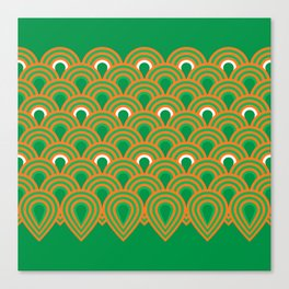 retro sixties inspired fan pattern in green and orange Canvas Print