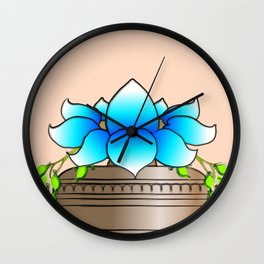 Blue Lotus Wall Clock
