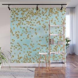 Sparkling gold glitter confetti on aqua ocean blue watercolor background - Luxury pattern Wall Mural