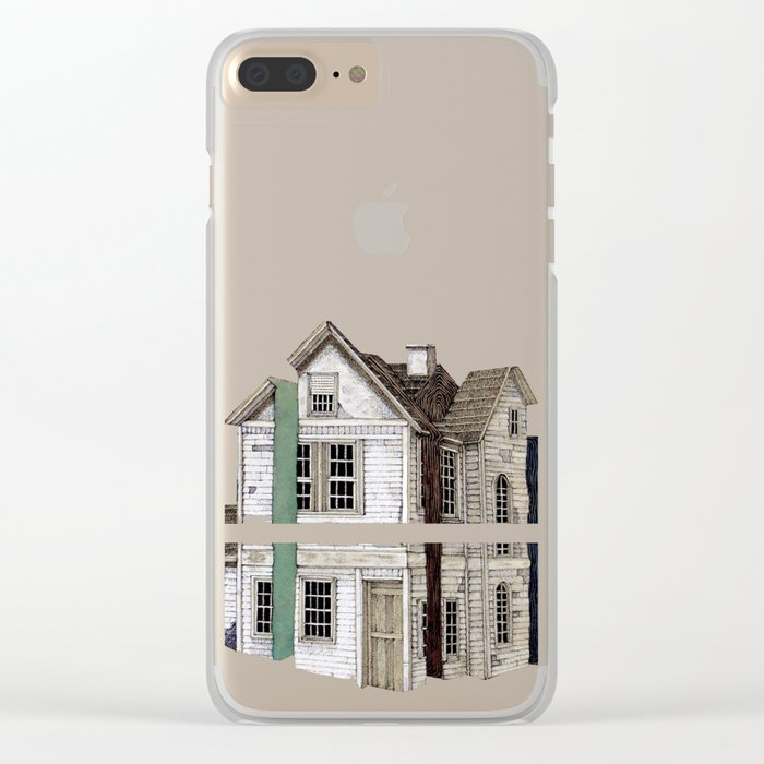 pink house Clear iPhone Case