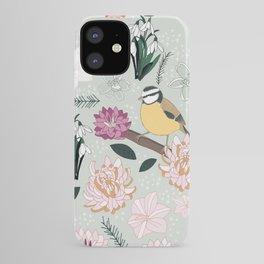 Joyful winter muted floral pattern with bird iPhone Case