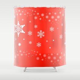 White Flocks on Red Christmas Shower Curtain